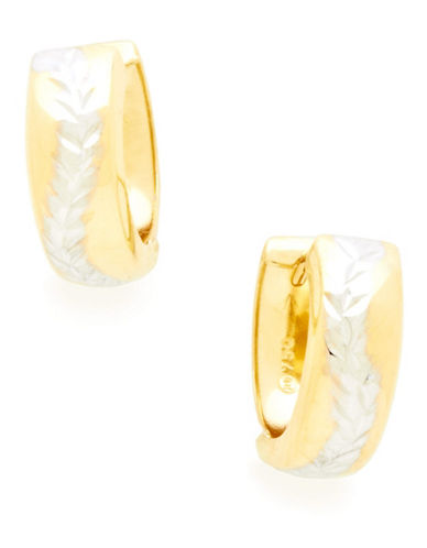 Fine Jewellery 18Kt Yellow Gold Huggie Hoops With Rhodium Plated Leaf Design-GOLD-One Size