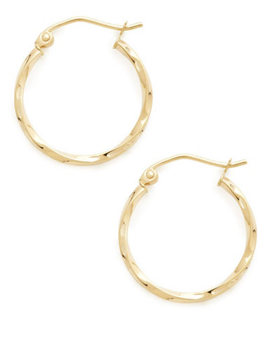 Fine Jewellery 14Kt Yellow Gold 2x20mm Polished Hollow Twist Tube Hoops-YELLOW-One Size