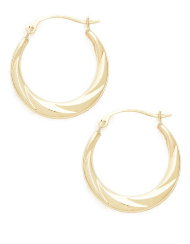 Fine Jewellery 14Kt Yellow gold polished hollow wave design hoops-GOLD-One Size