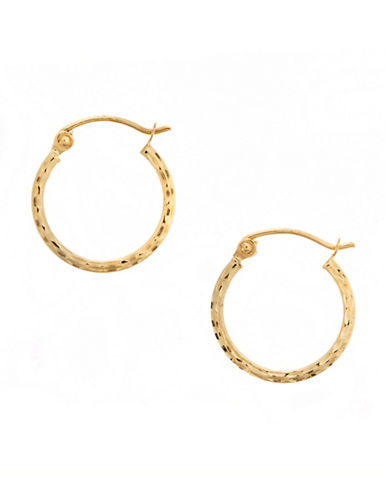 Fine Jewellery 14K Yellow Gold Square Tube Hoop Earrings-GOLD-One Size