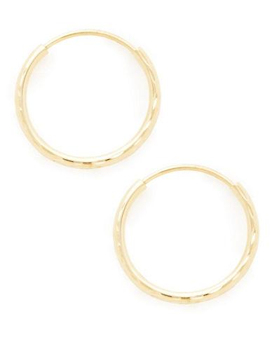 Fine Jewellery 14K Yellow Gold 12mm Full Diamond Cut Endless Tube Hoops-YELLOW-One Size