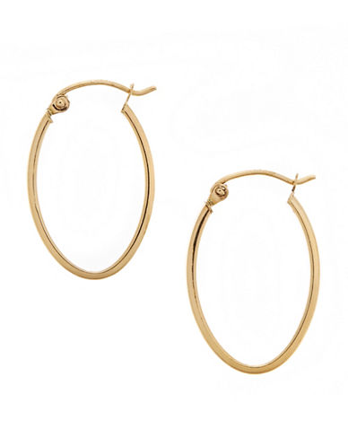 Fine Jewellery 14KT Yellow Gold High Polished 4x16x24mm Hollow Tube Oval Shaped Hoops-YELLOW-One Size