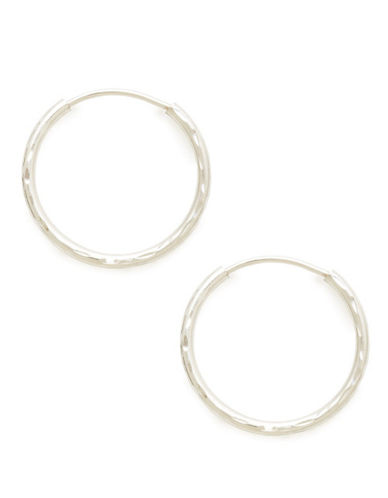 Fine Jewellery 14Kt White Gold Rhodium Plated 14mm Full Diamond Cut Endless Hoops-WHITE GOLD-One Size