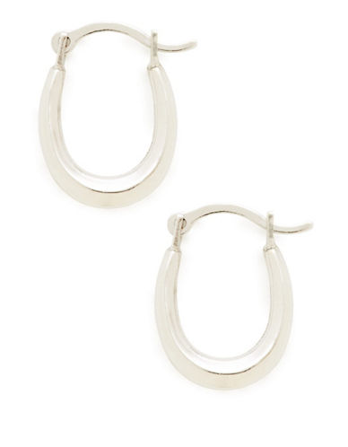 Fine Jewellery 14K White Gold Rhodium Plated Small Oval Polished Hollow Click Hoops-WHITE GOLD-One Size