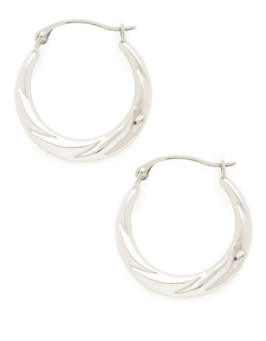 Fine Jewellery 14Kt White Gold Rhodium Plated 18Mm Polished Hollow Back To Back Hoops.-WHITE GOLD-One Size