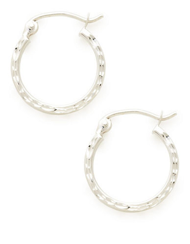 Fine Jewellery 4Kt White Gold Rhodium Plated 1.5X15Mm Hollow Square Tube Hoops-WHITE GOLD-One Size