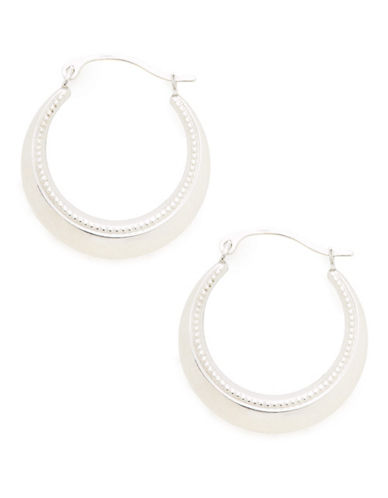 Fine Jewellery 14K White Gold Textured Hollow Hoop Earrings-WHITE GOLD-One Size