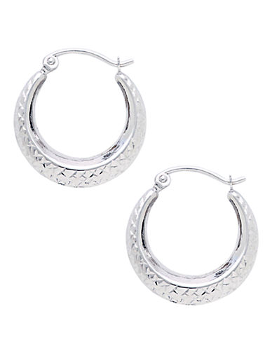 Fine Jewellery 14KT White Gold Rhodium Plated 18mm Diamond Cut Hollow Back To Back Hoops-PEARL-One Size