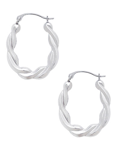 Fine Jewellery 14kt White Gold Rhodium Plated Polished 22mm Oval Shaped Hoops With Twist Design-WHITE-One Size