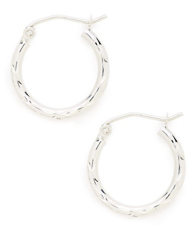 Fine Jewellery 14K White Gold Rhodium Plated 2x17mm Diamond Cut Tube Hoops-WHITE GOLD-One Size