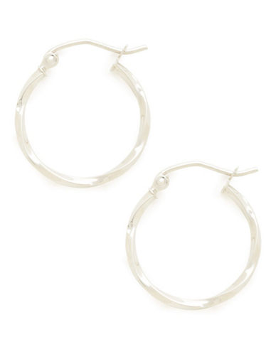 Fine Jewellery 14K White Gold Hollow Twist Tube Hoops-OPEN WHITE-One Size