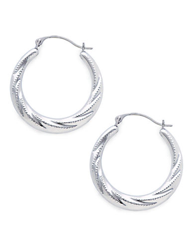 Fine Jewellery 14K White Gold Rhodium Plated 23mm Hollow Twist Hoops With Beaded Finish-WHITE GOLD-One Size
