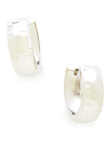 Fine Jewellery 14K White Gold Rhodium Plated Huggie Hoops-OPEN WHITE-One Size