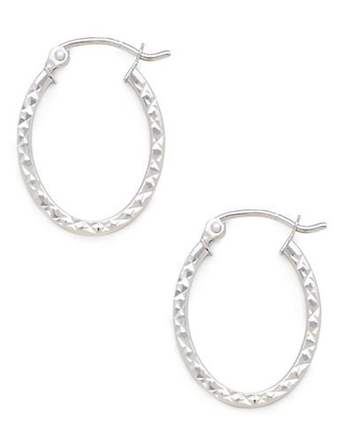 Fine Jewellery 14K White Gold Square Oval Earrings-WHITE GOLD-One Size