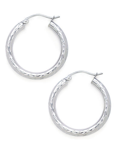 Fine Jewellery 14K White Gold Diamond Cut Hollow Tube Hoop Earrings-WHITE GOLD-One Size
