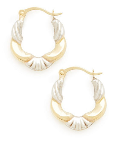 Fine Jewellery 14Kt Yellow Gold 13.5mm Polished Hollow Hoops With Rhodium Plated Accents-TWO TONE COLOUR-One Size