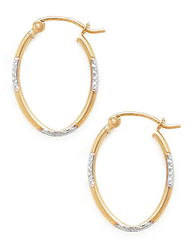 Fine Jewellery 14Kt Diamond Cut Oval Earring-TRI COLORED GOLD-One Size