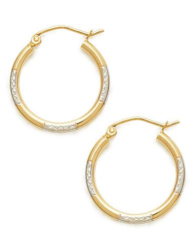Fine Jewellery 14Kt Diamond cut Oval Earring-TRI COLOUR-One Size