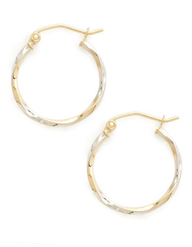 Fine Jewellery 14Kt Yellow Gold 1.9X20Mm Polished Hollow Twist Tube Hoops With Rhodium Plated Accents-TWO TONE COLOUR-One Size