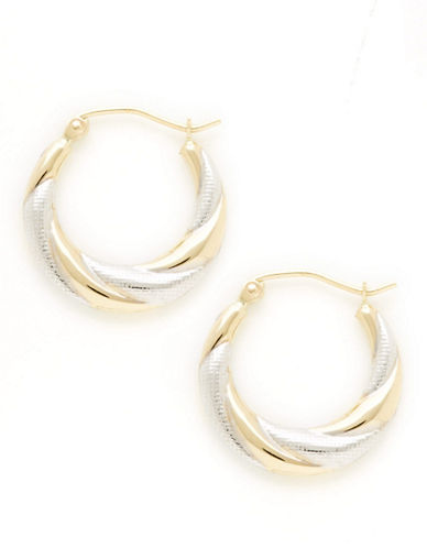 Fine Jewellery 14Kt Yellow Gold 20mm Round Polished Hollow Hoops With Rhodium Plated Accents-TWO TONE COLOUR-One Size