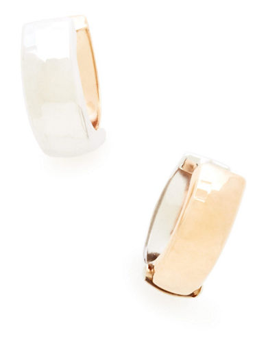 Fine Jewellery 14Kt Pink And White Gold High Polished Huggie Hoops-TWO TONE GOLD-One Size