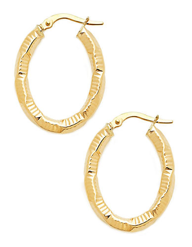Fine Jewellery 14Kt Yellow Gold Italian Made 3x20x23mm Oval Shaped Patterned Hollow Tube Hoops-GOLD-One Size