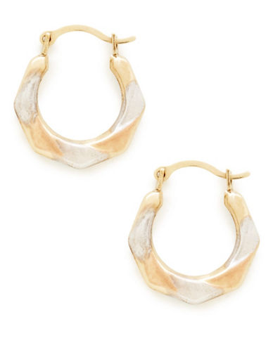 Fine Jewellery 14kt 15mm Yellow White And Pink Gold Hoops With 14KT Hinged Earwires And Snap In Closure-TRI COLOUR GOLD-One Size