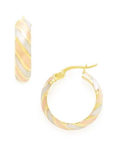 Fine Jewellery 14Kt Yellow Gold 20mm Satin Finish And Diamond Cut Hollow Tube Hoops-TWO TONE GOLD-One Size