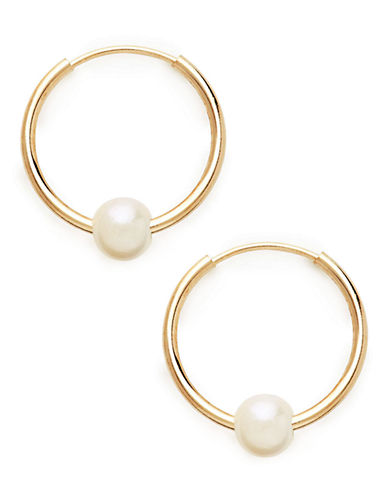 Fine Jewellery 10Kt Yellow Gold 14mm Hoops With 4mm White Freshwater Pearl Beads-PEARL-One Size