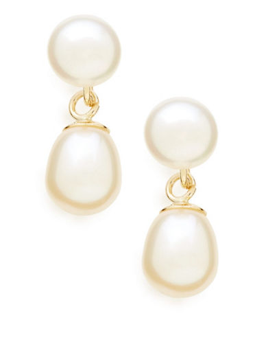 Fine Jewellery 10K Yellow Gold And Freshwater Pearl Drop Earrings-PEARL-One Size