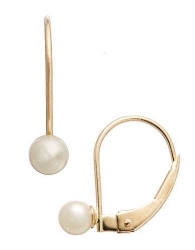 Fine Jewellery Girls 14K Lever Back Pearl Earrings-WHITE-One Size