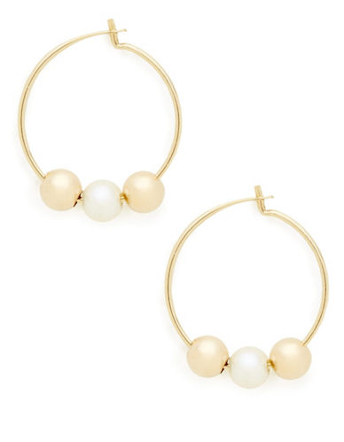 Fine Jewellery Girls 14K Yellow Gold and Pearl Hoop Earrings-PEARL-One Size