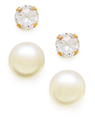 Fine Jewellery Girls Set of 14K Pearl and Cubic Zirconia Earrings-PEARL-One Size
