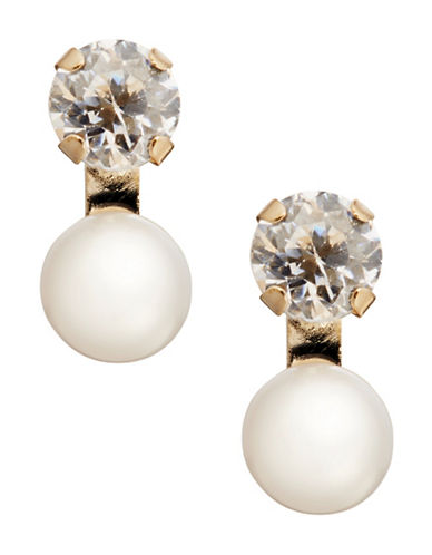 Fine Jewellery Girls 14K Pearl and Cubic Zirconia Earrings-WHITE-One Size