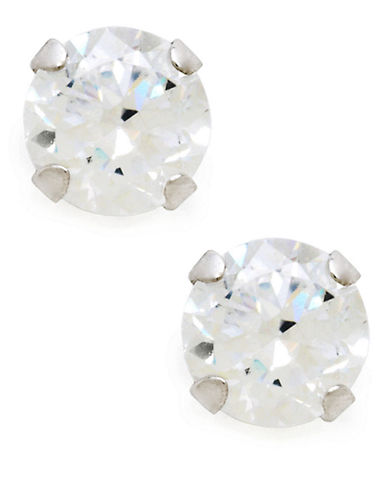 Fine Jewellery Childrens 14kt White Gold Earrings-CUBIC ZIRCONIA-One Size