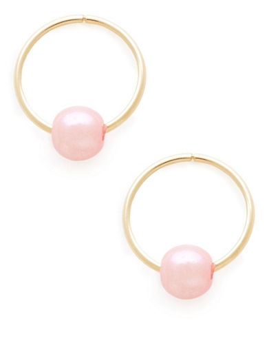 Fine Jewellery Kids 14K Pink Pearl Hoop Earrings-PEARL-One Size