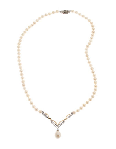 Fine Jewellery Sterling Silver And 10Kt Yellow Gold Pearl V Shape Necklace-PEARL-One Size