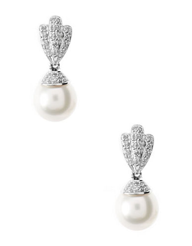 Fine Jewellery Sterling Silver Rhodium Plated Post Earrings-PEARL-One Size