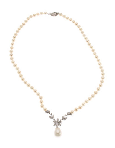 Fine Jewellery Sterling Silver V Shaped Necklace Set With 48 Round White Diamonds And Strung With 5mm Round White Freshwater Pearls-PEARL-One Size