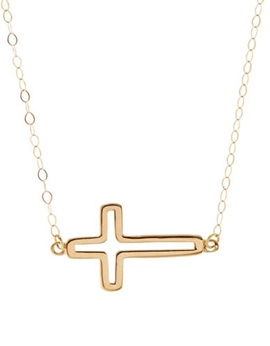 Fine Jewellery 14kt Yellow Gold Cross Pendant-YELLOW GOLD-One Size