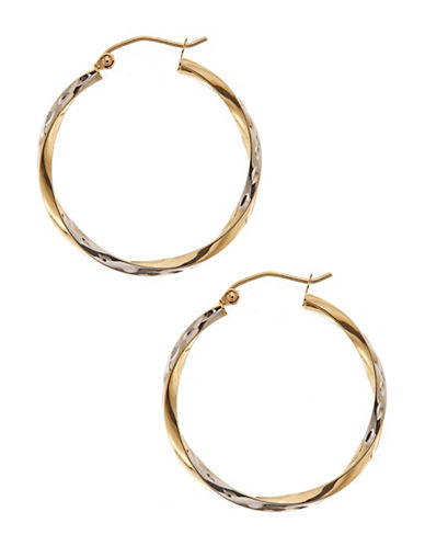 Fine Jewellery 10Kt Yellow And White Gold 3x30mm Hollow Twist Tube Hoops With Hinged Earwires And Snap In Closure-YELLOW GOLD-One Size
