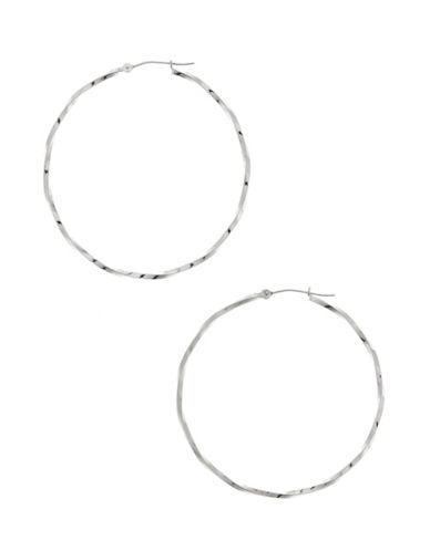 Fine Jewellery 14Kt White Gold Rhodium Plated 45Mm Hollow Twist Tube Hoops With Hinged Earwires And Snap In Closure.-WHITE GOLD-One Size