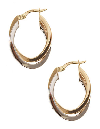 Fine Jewellery 14Kt Yellow And White Gold Polished Oval Double Tube Hoops With Hinged Earwires And Snap In Closure-YELLOW GOLD-One Size
