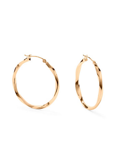 Fine Jewellery 14K Yellow Gold Twisted Hoop Earrings-GOLD-One Size
