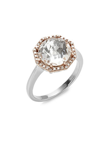 Town & Country 14kt Rose Gold and Sterling Silver Ring with 0.12 tcw Diamonds-SILVER-7