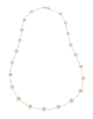 Fine Jewellery 14K Yellow Gold Pearl Station Necklace-PEARL-One Size