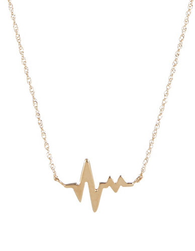 Fine Jewellery 14K Small Heart Beat Pendant-YELLOW GOLD-One Size