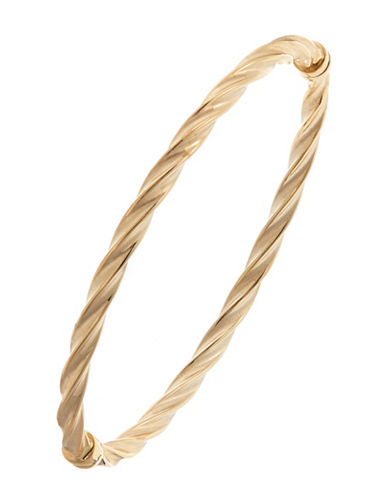 Fine Jewellery 14K High Polished Twist Bangle-YELLOW GOLD-One Size