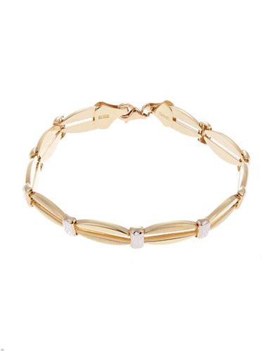 Fine Jewellery 14 K Open Link Polished Satin and Diamond Cut Finish Bracelet-YELLOW GOLD-One Size