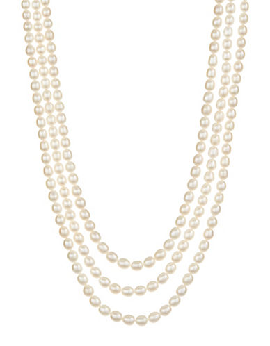 Fine Jewellery 3 Row Pearl Necklace-WHITE-One Size